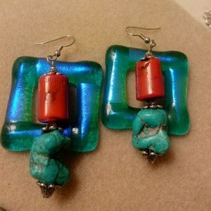TURQUOISE/CORAL EARRINGS